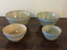 SET Vtg. Red Wing Greek Key Blue Band Stoneware Bowls~Pottery~Ware 10,9,7 & 6