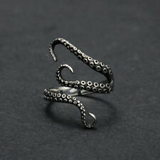 Fashion Men's Titanium Stainless Steel Octopus Finger Rings Gothic Biker Jewelry