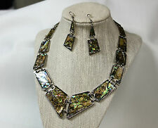 Natural Abalone Shell Necklace & Earring Set