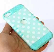 For iPod Touch 5th & 6th Gen - HARD&SOFT RUBBER HYBRID CASE MINT BLUE POLKA DOT