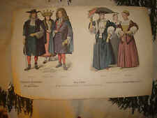 ANTIQUE GERMAN GERMANY FASHION COSTUME WOMEN PRINT NR