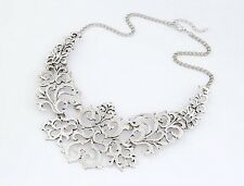 Modern Retro Silver Hollow-out Flower Pattern Pendant Bib Collar Chain Necklace