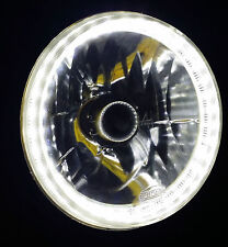 "White 7"" Round LED Halo Ring H4 Headlight Angel Eye DRL for Yamaha Suzuki Honda"