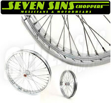 "SPOOL HUB WHEEL 21"" x  2.15"" HD HARLEY CHROMED BALL HUB SPOKES CHOPPER HOTROD"