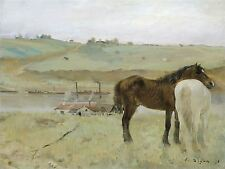 EDGAR DEGAS FRENCH HORSES MEADOW OLD ART PAINTING POSTER PRINT BB5210A