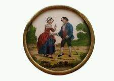 Antique BOX Reverse hand painted Glass presentation jewelry 1800's Patch Trinket