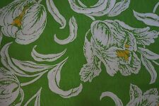 Vintage Fabric Large FLORAL Green, White Orange SOLD BY THE YARD 1960s-70s