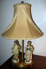 Vtg antique Victorian/Colonial Man and Woman Boudoir Lamps Hand Painted German