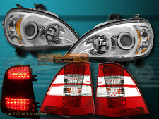 98-01 MERCEDES BENZ CHROME PROJECTOR HEADLIGHTS W163 M-CLASS + TAIL LIGHTS LED