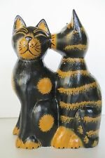 "8"" KISSING CATS cat LARGE FIGURINE,WOOD, HANDMADE!"