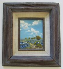 "Bill Ord Oil Painting ""Bluebonnets & Blue Sky Texas"" Small/Framed"