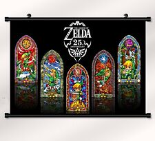 """the legend of zelda 25th Fabric poster with wall scroll 22"""" x 16"""" Decor 57"""