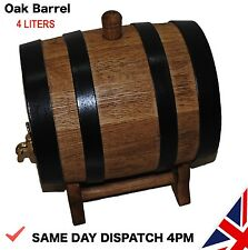 Wooden 4 L Liters Oak Barrel Wine Spirit, whiskey, bourbon Fast Delivery UK
