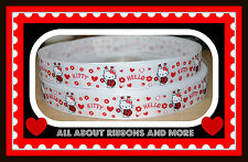 7/8 INCH HELLO KITTY LADYBUG RED AND WHITE GROSGRAIN RIBBON - 1 YARD