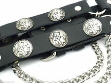 Indian Head Leather Biker Western PAIR Boot Straps W Chain Buckle Women's Men's