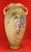 Antique Nippon Wisteria Handled Vase - Old Mark - Heavy Gold with Jewels