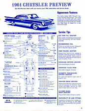 1961 CHRYSLER & 1961 MERCURY COMET 61 PREVIEW LUBE LUBRICATION CHARTS & PICTURES