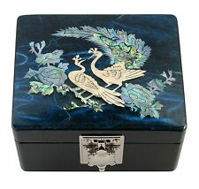 Lacquer inlaid mother of pearl wood  trinket jewelry jewel box peacock blue