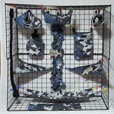 Blue and Grey Camo * 15 piece Sugar Glider Cage set * Rat * double layer Fleece
