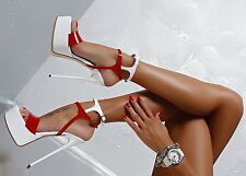 1969 Pumps 18 cm Sexy white red fetish sky platform sandals high heels 41 42 43