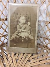 Antique Victorian Cabinet Card Photograph, Little Girl & Huge China Head Doll