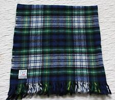 "Vtg Pure Wool Knit Plaid FARIBO USA Made Stadium Fringe Throw Blanket 46"" X 46"""