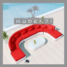MODENZI 11C WHITE Modern Patio Wicker Set Outdoor Sectional Sofa Furniture Chair