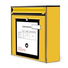 Burg-Wächter Postkasten schwarz 36x32x10cm mit Motiv Briefkasten Gelb wetterfest