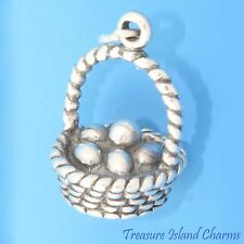 EASTER BASKET WITH 6 EGGS 3D .925 Solid Sterling Silver Charm NEW