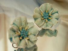 FABulous Vintage 50's Cellu-plastic Blue Enamel Flower Clip Earrings 246F7