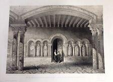 PALENCIA  Abadía de Benevivere. Litografía original, Villaamil, 1842-50