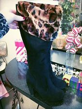 SALE Retro Knee High Boots Black Leopard Burlesque PinUp Bamboo 9