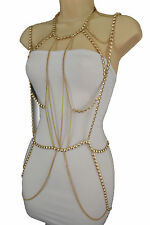 Women Gold Metal Full Body Chain Long Necklace Jewelry Harness Dress Vegas Party