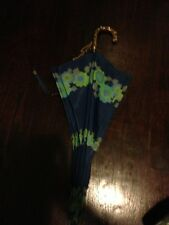 vintage blues and greens floral umbrella with gold detailed handle