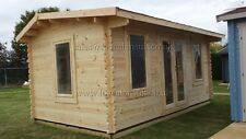 MODERN DESIGN log cabin ROME 5 x 3m in  44 mm walls WITH FULL LENGTH GLASS