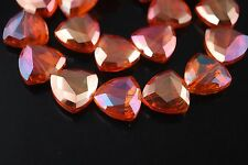 6pcs Wine Red Glass Crystal Faceted Triangle Beads 18mm Spacer Jewelry Findings