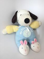 MY FIRST SNOOPY Blue Yellow Thermal Plush Stuffed Animal Toy Rattle Puppy Lovey