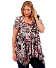 NEW! WOMEN'S PLUS SIZE CLOTHING PINK & BLACK ANIMAL PRINT BABYDOLL BLOUSE 5X