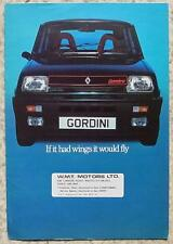 RENAULT 5 GORDINI Car Sales Brochure c1980