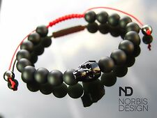 Men's Onyx/Red Macrame Skull Bracelet with Swarovski Crystal 7-8inch Elasticated