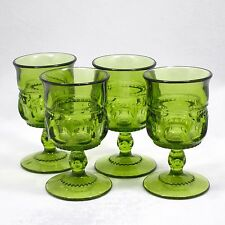 4 Indiana Green Glass Kings Crown Thumbprint Cordials Avocado / Killarney Green