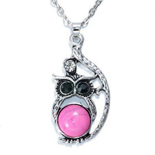 NEW Vintage Crystal Owl Pendant Necklace Long Chain Rhinestone Jewelry   AA-672