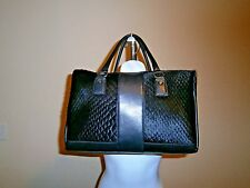 Innue Made in Italy Black Leather/Calf Hair Lg. Satchel Removable Strap Handbag