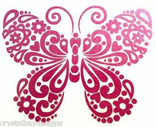 Butterfly Flower Fancy Pink Glitter Car Decal Sticker Laptop Window 15-95