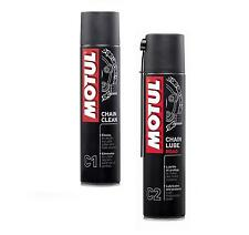 MOTUL CHAIN CLEAN SGRASSATORE + CHAIN LUBE ROAD GRASSO CATENE MOTO TRIAL