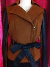 BEBE RUNWAY Women Vintage Wash Leather Jacket SZ SMALL S NWD Brown Cyber Monday