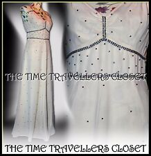 Kate Moss Topshop Blue Diamanté Ivory Cream Maxi Dress 30s 40s Wedding UK 8 10