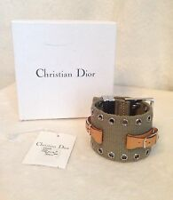 New CHRISTIAN DIOR Green Khaki Web Silver-tone Buckle Bracelet STREET CHIC GM