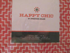 3pc Jonathan Adler Happy Chic Aztec Twin Sheet Set in Cayenne Red NIP