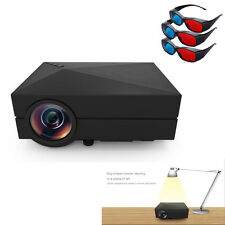 1000Lumens Home Cinema Theater Mini LCD Projector 1080P HD HDMI + Free 3D glasse